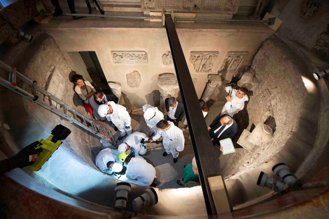 Experts open the ossuary at the Teutonic Cemetery, to help solve the 36-year-old disappearance of a teenage daughter of a clerk in the Holy See, at the Vatican, July 20, 2019.   Vatican Media/Handout via REUTERS