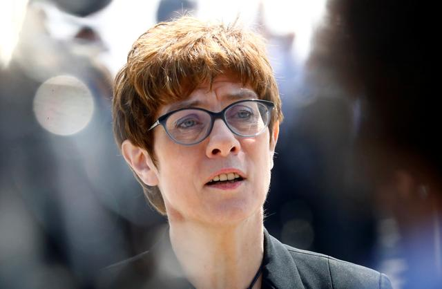 FILE PHOTO: Incoming German defense minister Annegret Kramp-Karrenbauer attends a welcoming ceremony at the Defense Ministry in Berlin, Germany, July 17, 2019. REUTERS/Hannibal Hanschke