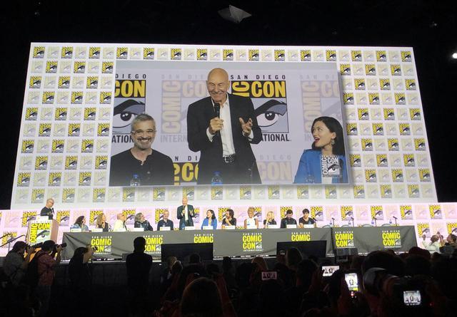 British actor Patrick Stewart speaks at San Diego Comic-Con in San Diego, California, U.S. July 20, 2019. REUTERS/Lisa Richwine