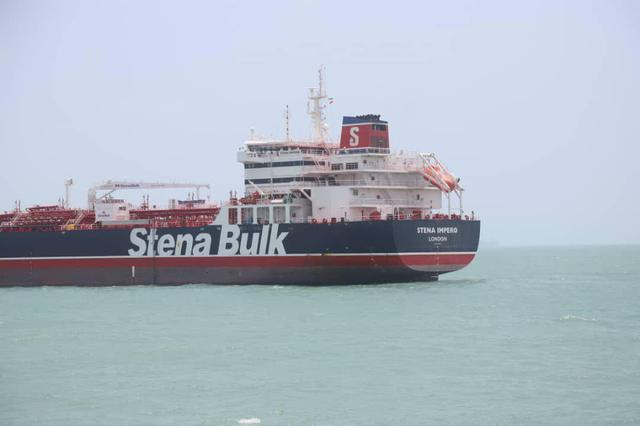 Stena Impero, a British-flagged vessel owned by Stena Bulk, is seen at Bander Abass port, in this undated handout photo. Tasnim News Agency/Handout via REUTERS