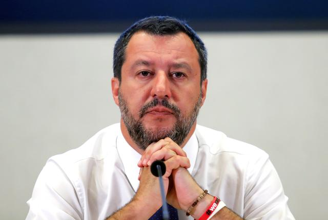 FILE PHOTO: Italian Deputy Prime Minister Matteo Salvini addresses a news conference at Viminale Palace, Rome, Italy, July 15 2019. REUTERS/Remo Casilli