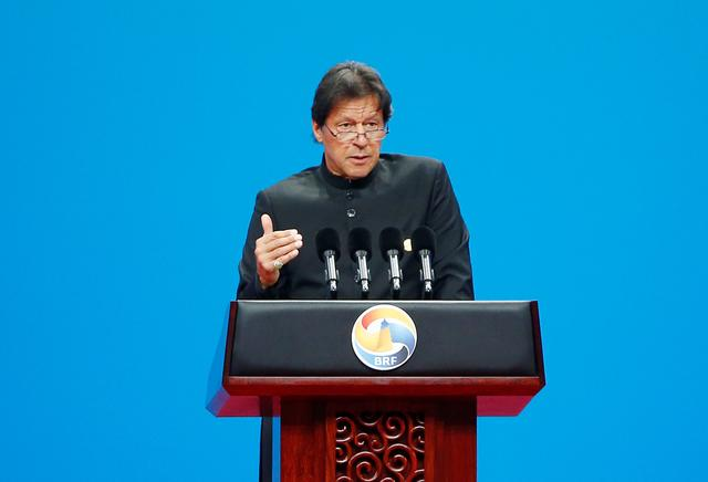 FILE PHOTO: Pakistani Prime Minister Imran Khan delivers a speech at the opening ceremony for the second Belt and Road Forum in Beijing, China, April 26, 2019. REUTERS/Florence Lo