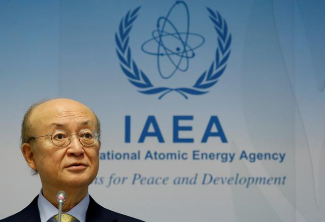 FILE PHOTO: International Atomic Energy Agency (IAEA) Director General Yukiya Amano addresses a news conference during a board of governors meeting at the IAEA headquarters in Vienna, Austria March 4, 2019.   REUTERS/Leonhard Foeger/File Photo