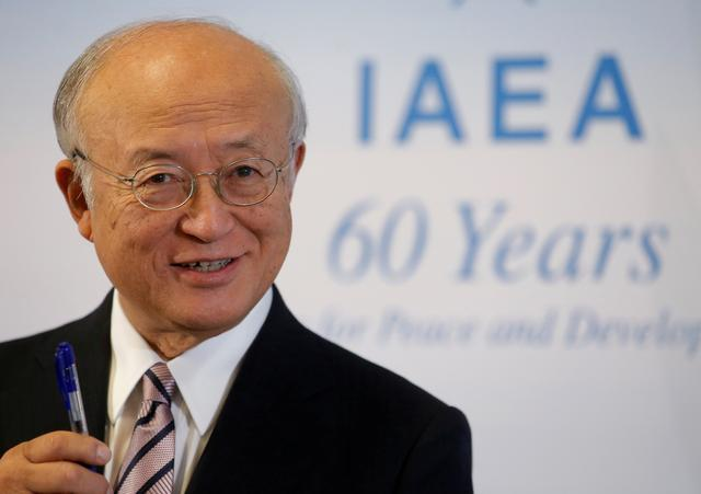 FILE PHOTO: International Atomic Energy Agency (IAEA) Director General Yukiya Amano addresses a news conference during a board of governors meeting at the IAEA headquarters in Vienna, Austria, September 11, 2017. REUTERS/Heinz-Peter Bader/File Photo