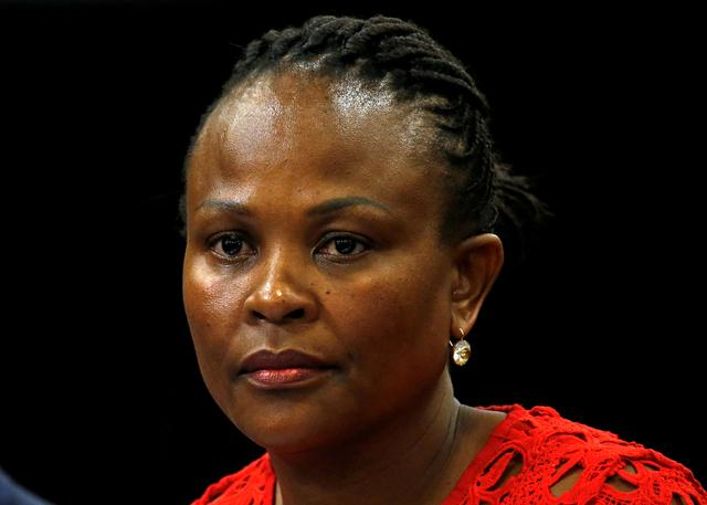 FILE PHOTO: Public Protector Busisiwe Mkhwebane listens during a briefing at Parliament in Cape Town, South Africa October 19, 2016. REUTERS/Mike Hutchings/File Photo