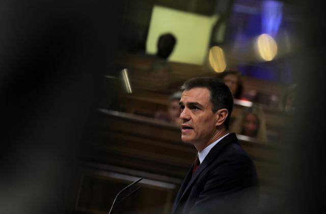 Spain's acting Prime Minister Pedro Sanchez delivers a speech during the investiture debate at the Parliament in Madrid, Spain July 22, 2019. REUTERS/Sergio Perez