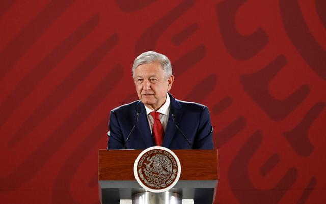 Mexico's President Andres Manuel Lopez Obrador attends a news conference at the National Palace in Mexico City, Mexico July 22, 2019. REUTERS/Edgard Garrido