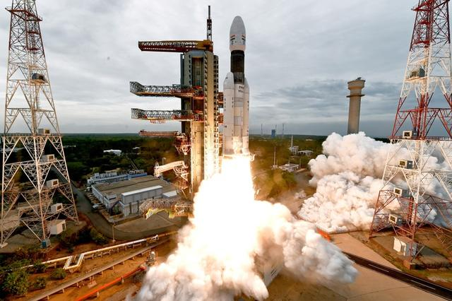 India's Geosynchronous Satellite Launch Vehicle Mk III-M1 blasts off carrying Chandrayaan-1 from the Satish Dhawan space centre at Sriharikota, India, July 22, 2019. Indian Space Research Organisation/Handout via REUTERS