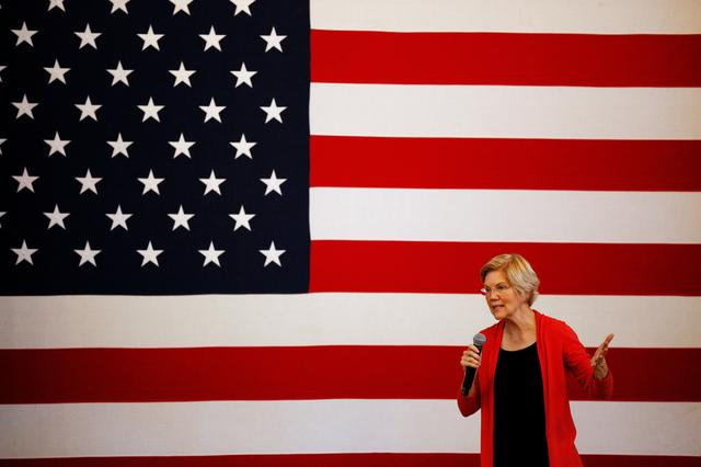 FILE PHOTO - Democratic 2020 U.S. presidential candidate Sen. Elizabeth Warren speaks during a town hall at the Peterborough Town House in Peterborough, New Hampshire, U.S., July 8, 2019.   REUTERS/Elizabeth Frantz