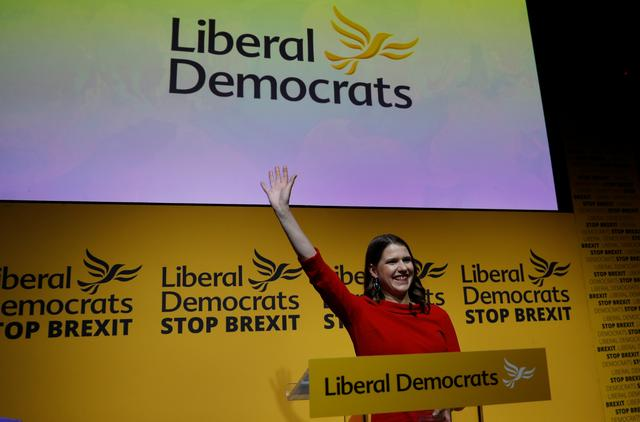 Jo Swinson reacts after being announced as the new leader of the Liberal Democrats party in London, Britain July 22, 2019. REUTERS/Peter Nicholls