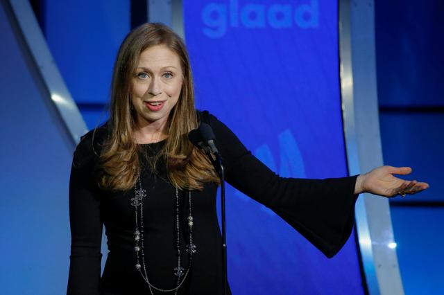 FILE PHOTO: Chelsea Clinton speaks on stage during the 30th annual GLAAD awards ceremony in New York City, New York, U.S., May 4, 2019. REUTERS/Eduardo Munoz