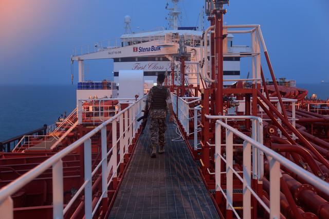 An Iranian Revolutionary Guard member walks onboard of Stena Impero, a British-flagged vessel owned by Stena Bulk, in Bandar Abbas port, Iran July 21, 2019. Fars News Agency/ WANA/Handout via REUTERS
