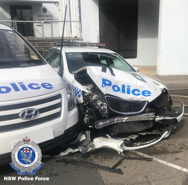 A NSW Police handout photo shows the wreckage of a police patrol car after it was hit by a van laden with methamphetamines outside a police station in Eastwood, north of Sydney in Australia July 22, 2019. New South Wales Police Force/Handout via REUTERS