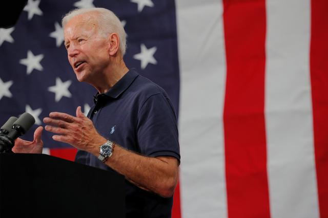 FILE PHOTO - Democratic 2020 U.S. presidential candidate and former U.S. Vice President Joe Biden speaks at a campaign stop at Mack's Apples in Londonderry, New Hampshire, U.S., July 13, 2019.   REUTERS/Brian Snyder