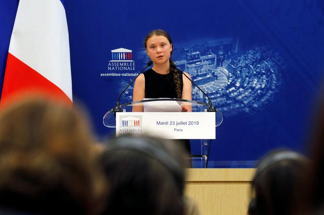 Swedish environmental activist Greta Thunberg delivers a speech during a debate with French parliament members at the National Assembly in Paris, France, July 23, 2019.  REUTERS/Philippe Wojazer
