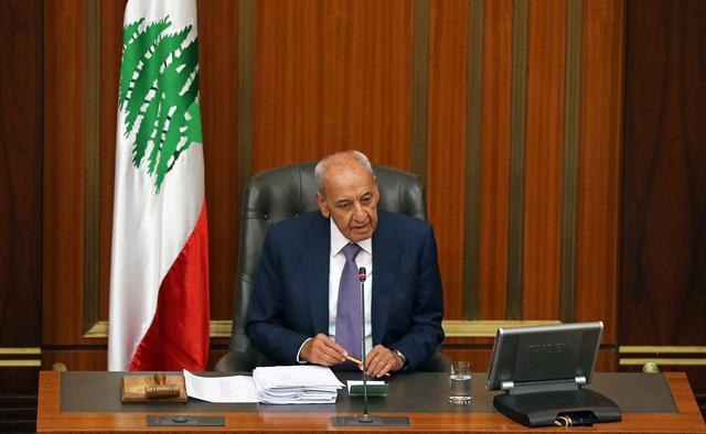Lebanese Parliament Speaker Nabih Berri chairs a parliamentary session in downtown Beirut, Lebanon July 16, 2019. Picture taken July 16, 2019. REUTERS/Mohamed Azakir