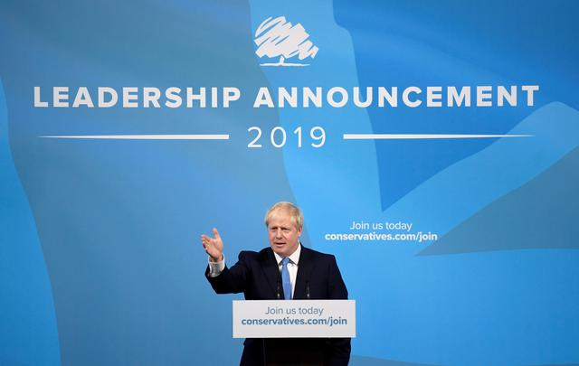 Boris Johnson speaks after being announced as Britain's next Prime Minister at The Queen Elizabeth II centre in London, Britain July 23, 2019. REUTERS/Toby Melville