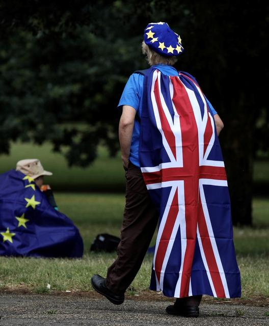 Foto de archivo. Un manifestante con bandera británica asiste a la marcha anti-Brexit 'No a Boris, Sí a Europa' en Londres, Reino Unido, el 20 de julio de 2019. REUTERS/Kevin Coombs