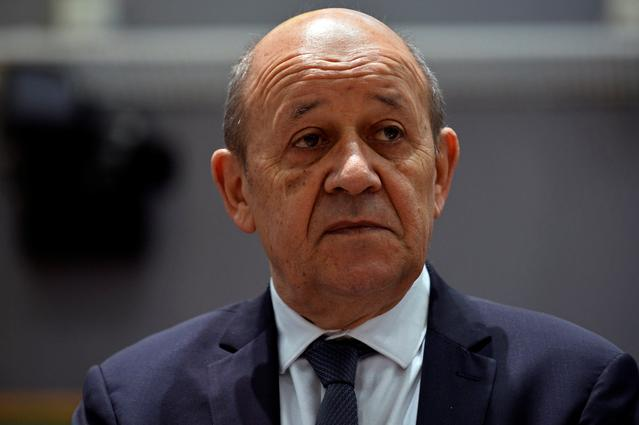 FILE PHOTO - French Foreign Minister Jean-Yves Le Drian attends a EU foreign ministers meeting in Brussels, Belgium July 15, 2019. REUTERS/Johanna Geron