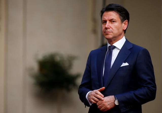 FILE PHOTO: Italian Prime Minister Giuseppe Conte is pictured before a meeting with Russian President Vladimir Putin in Rome, Italy July 4, 2019. REUTERS/Yara Nardi/File Photo