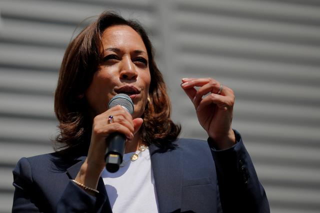 FILE PHOTO - Democratic 2020 U.S. presidential candidate and U.S. Senator Kamala Harris (D-CA) speaks at a campaign house party in Gilford, New Hampshire, U.S., July 14, 2019.   REUTERS/Brian Snyder