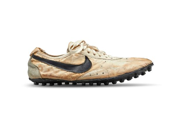 "The Nike ""Moon Shoe"" one of only about 12 pairs of the handmade running shoe designed by Nike co-founder and legendary Oregon University track coach Bill Bowerman, is seen in this Sotheby's image released on July 11, 2019. Courtesy Sotheby's/Handout via REUTERS"