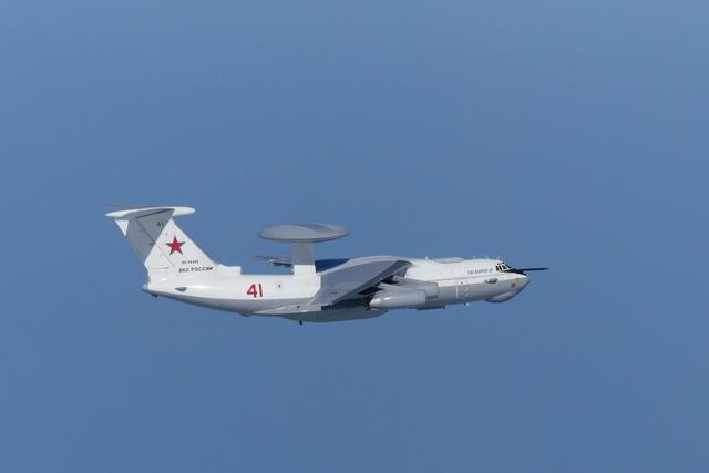 A Russian A-50 military aircraft flies near the disputed islands called Takeshima in Japan and Dokdo in South Korea, in this handout picture taken by Japan Air Self-Defence Force and released by the Joint Staff Office of the Defense Ministry of Japan July 23, 2019. Joint Staff Office of the Defense Ministry of Japan/HANDOUT via REUTERS