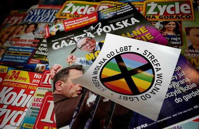 A sticker with words  LGBT-free zone distributed in weekly conservative magazine Gazeta Polska is pictured in Warsaw, Poland July 24, 2019. REUTERS/Kacper Pempel