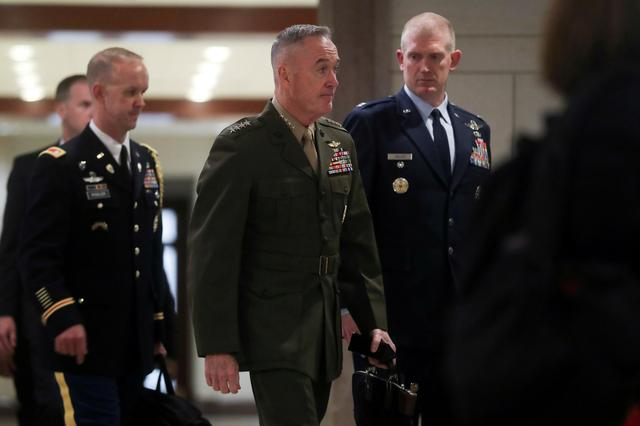 FILE PHOTO: U.S. Chairman of the Joint Chiefs Marine Corps General Joseph Dunford arrives to hold a classified briefing on Iran, with Secretary of State Mike Pompeo and acting Defense Secretary Patrick Shanahan, for members of the House of Representatives on Capitol Hill in Washington, U.S. May 21, 2019.  REUTERS/Jonathan Ernst