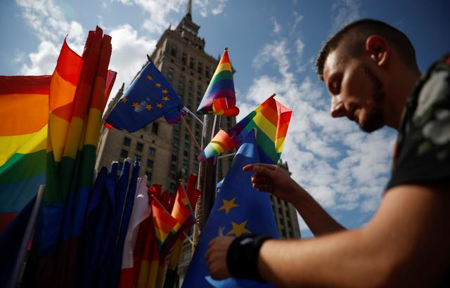 A participant attends a protest against violence that took place against the LGBT community during the first pride march in Bialystok earlier this month, in Warsaw, July 27, 2019. REUTERS/Kacper Pempel