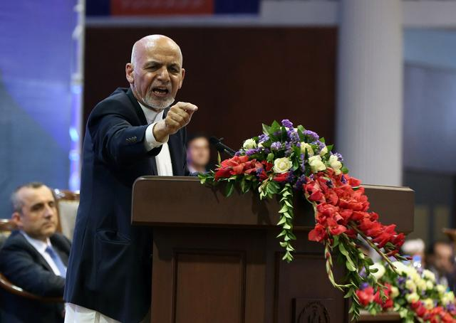 Afghan presidential candidate Ashraf Ghani speaks during the first day of the presidential election campaign in Kabul, Afghanistan, July 28, 2019. REUTERS/Omar Sobhani