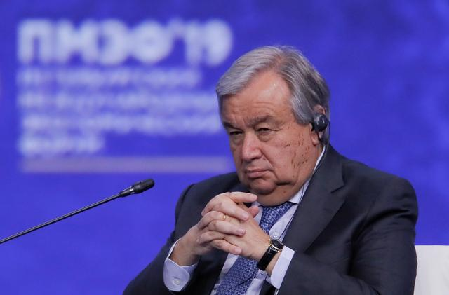 U.N. Secretary-General Antonio Guterres attends a session of the St. Petersburg International Economic Forum (SPIEF), Russia June 7, 2019. REUTERS/Maxim Shemetov