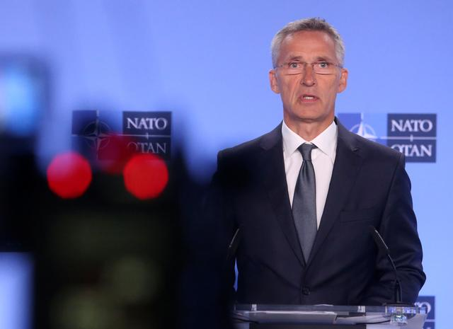 NATO Secretary-General Jens Stoltenberg gives a news conference on the day the United States is set to pull out of the Intermediate-range Nuclear Force Treaty (INF), in Brussels, Belgium, August 2, 2019. REUTERS/Francois Walschaerts