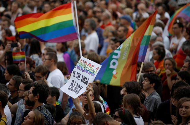 FILE PHOTO: Participants attend a protest against violence that took place against the LGBT community during the first pride march in Bialystok earlier this month, in Warsaw, July 27, 2019. REUTERS/Kacper Pempel/File Photo