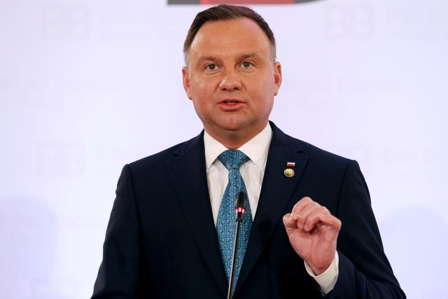 FILE PHOTO: President of Poland Andrzej Duda speaks during a news conference after the Brdo-Brijuni Process Leaders' Meeting in Tirana, Albania May 9, 2019. REUTERS/Florion Goga/File Photo
