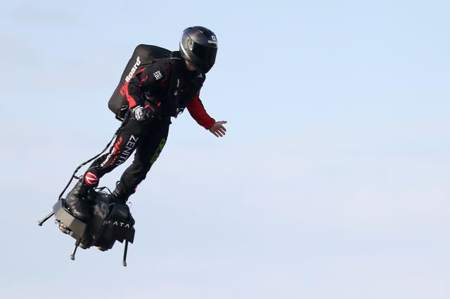 French inventor Franky Zapata takes off on a Flyboard for a second attempt to cross the English channel from Sangatte to Dover, in Sangatte, France, August 4, 2019. REUTERS/Yves Herman
