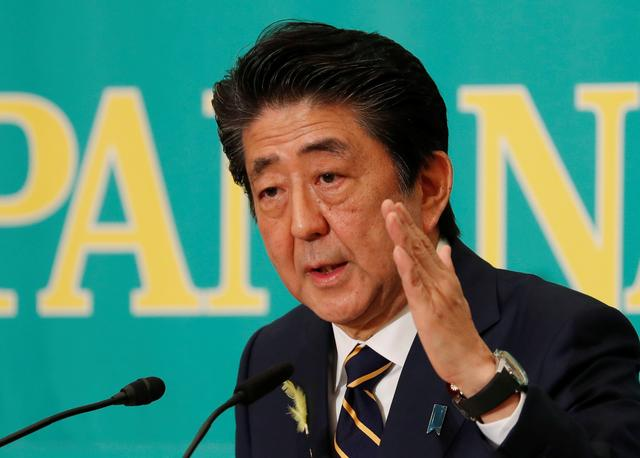 FILE PHOTO: Japan's Prime Minister Shinzo Abe, who is also ruling Liberal Democratic Party leader, speaks at a debate session ahead of July 21 upper house election at the Japan National Press Club in Tokyo, Japan July 3, 2019.  REUTERS/Issei Kato