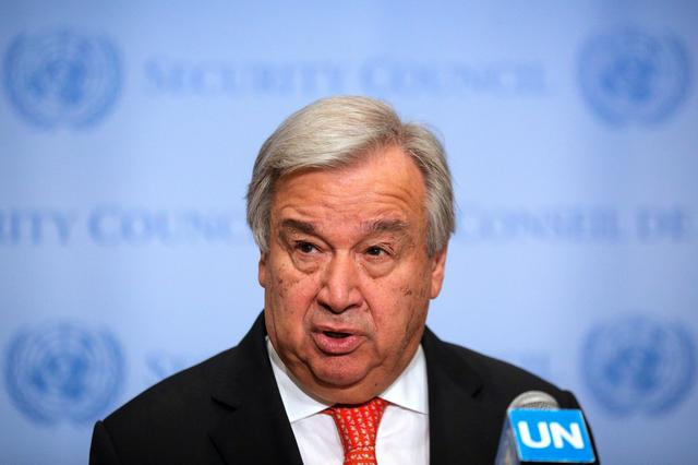 United Nations Secretary General Antonio Guterres speaks at the Security Council stakeout at the United Nations headquarters in New York, U.S.,  August 1, 2019. REUTERS/Brendan McDermid