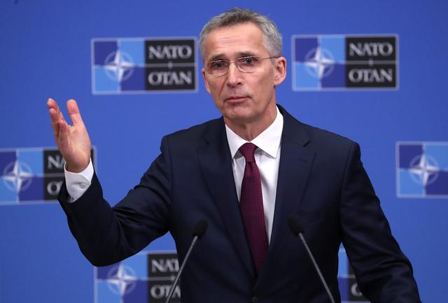 FILE PHOTO: NATO Secretary General Jens Stoltenberg addresses a news conference on the alliance's annual report at NATO's headquarters in Brussels, Belgium March 14, 2019.  REUTERS/Yves Herman