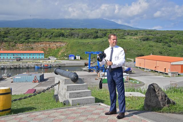 Russian Prime Minister Dmitry Medvedev visits the Southern Kuril Island of Iturup, Russia August 2, 2019. Sputnik/Alexander Astafyev/Pool via REUTERS