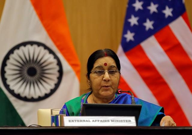 FILE PHOTO: India's Foreign Minister Sushma Swaraj speaks as she and U.S. Secretary of State Rex Tillerson (unseen) attend a media briefing in New Delhi, India, October 25, 2017. REUTERS/Altaf Hussain