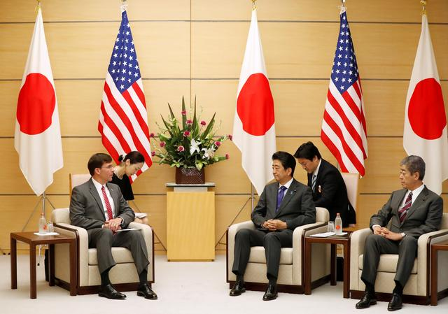 U.S. Secretary of Defence Mark Esper meets with Japanese Prime Minister Shinzo Abe and Defense Minister Takeshi Iwaya at Abe's official residence in Tokyo, Japan, August 7, 2019. REUTERS/Issei Kato