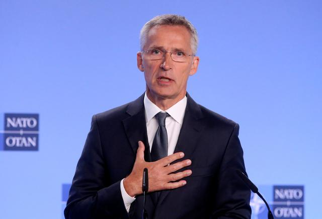 FILE PHOTO: NATO Secretary-General Jens Stoltenberg gives a news conference on the day the United States is set to pull out of the Intermediate-range Nuclear Force Treaty (INF), in Brussels, Belgium, August 2, 2019. REUTERS/Francois Walschaerts