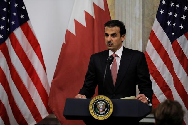FILE PHOTO: Qatar's Emir Sheikh Tamim bin Hamad Al-Thani delivers remarks during a dinner with U.S. President Donald Trump at the U. S. Department of the Treasury in Washington D.C., U.S., July 8, 2019. REUTERS/Carlos Barria