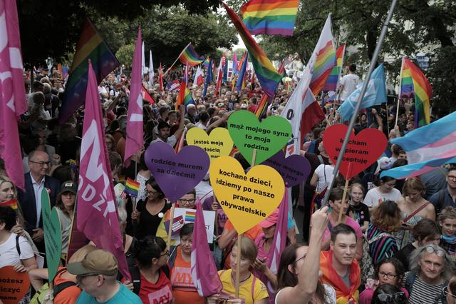 People take part in the city's first Equality Parade rally in support of the LGBT community, in Plock, Poland August 10, 2019. Agencja Gazeta/Jedrzej Nowicki  via REUTERS