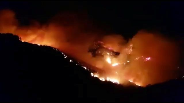 A wildfire burns in this still image obtained from social media video between Juncalillo and Pinos de Galdar, on Gran Canaria, Canary Islands, Spain in the early hours of August 11, 2019. Carla Rodriguez via REUTERS