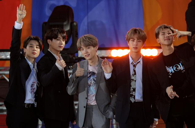 FILE PHOTO: Members of K-Pop band, BTS appear on ABC's 'Good Morning America' show in Central Park in New York City, U.S., May 15, 2019. REUTERS/Brendan McDermid
