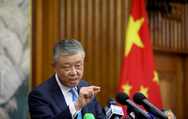 Chinese Ambassador to Britain Liu Xiaoming speaks during a news conference in London, Britain August 15, 2019. REUTERS/Simon Dawson