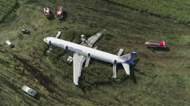 A still image, taken from a drone video footage, shows the Ural Airlines Airbus 321 passenger plane following an emergency landing in a field near Zhukovsky International Airport in Moscow Region, Russia August 15, 2019. Moscow News Agency/Handout via REUTERS