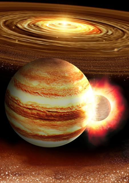 The collision between a young Jupiter and a massive still-forming protoplanet in the early solar system is seen in this artist illustration, released on August 14, 2019.    Courtesy Kyosuke Suda and Yuki Akimoto/Mabuchi Design Office, Astrobiology Center, Japan/Handout via REUTERS